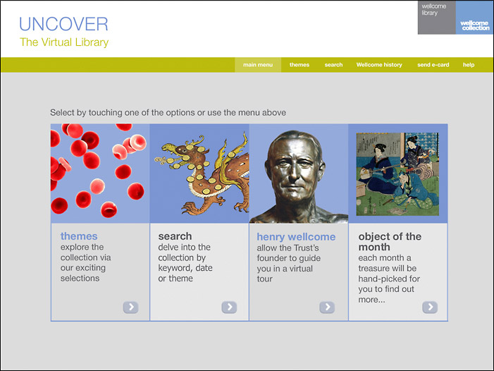Wellcome Uncover Home Page